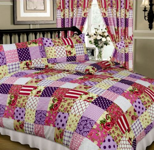 PINK & PURPLE COLOUR MULTI PATCHWORK DESIGN REVERSIBLE BEDDING DUVET QUILT COVER SET